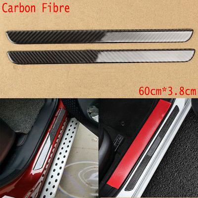 Car Carbon Fiber Scuff Plate Door Sill Trim Entry Guard Cover Panel Step Protector Guard Prevents Scratches+White High Intensity Reflective Tape for Mazda 3 4 5 6 CX-7 RX-8 CX-9 MX-5 Miata 4pcs