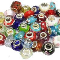 100 Mixed Glass Crystal & Lampwork Charm Beads Fits European Bracelet Wholesale