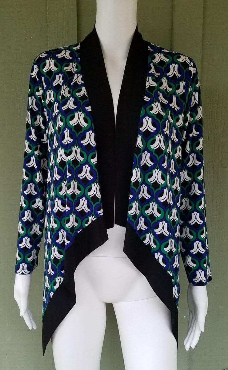 NWT KASPER bluee Green Print Open Waterfall Cardigan Knit Sweater Small S