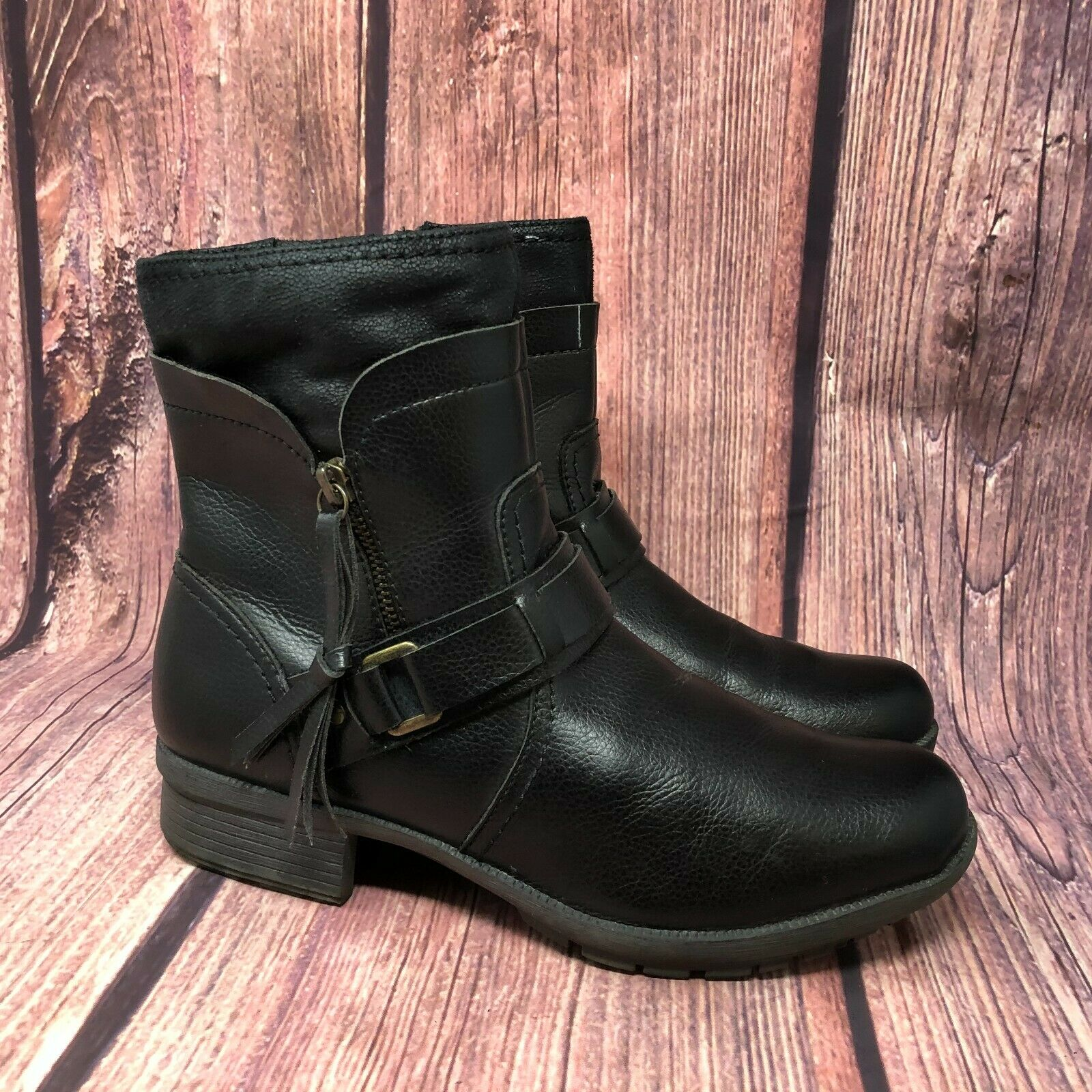 NEW WOMEN CLARKS ORTHOLITE HOPE TWIRL BLACK LEATHER COMFORT MEDIUM OR WIDE BOOTS