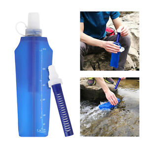 Filtered Water Bottle 500ML Reusable Filtered Water Bag for Sport Camping