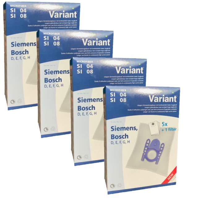20 Staubsaugerbeutel Variant SI08 geeignet für Siemens VS Z40000 - 49999 - Z 4.0