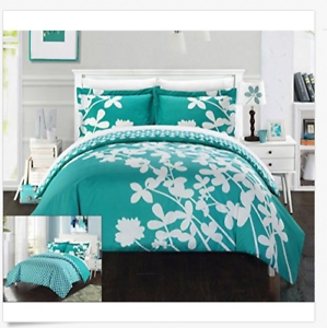 3 Piece Calla Reversible Large Scale Floral Design Printed Duvet Set Teal Queen