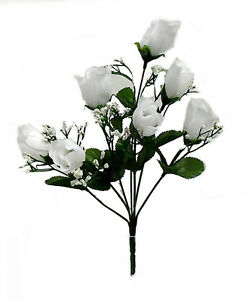 7 Roses Buds ~ WHITE ~ Silk Wedding Flowers Bouquets Centerpieces Bridal Decor