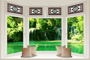 Huge-3D-Bay-Window-Enchanted-River-Waterfall-View-Wall-StickerWallpaper-S102