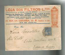 1930s Rio de Janeiro Brazil Commercial cover to Minas Lojas de Filtros