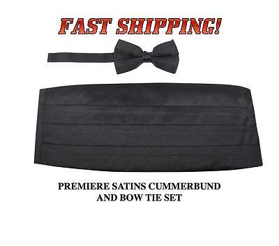 SILVER Cummerbund Bow Tie Hankie GREY Premiere Satins New 3 PIECE SET CBPS-02