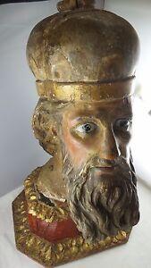 Saint-Apostle-Hand-Carved-Um-1630-Baroque-Zirbelkiefer-Original-Socket