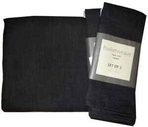 NEW-EASY-CARE-SOLID-BLACK-BASKETWEAVE-POLYESTER-TABLECLOTH-52-x-70-4-NAPKINS