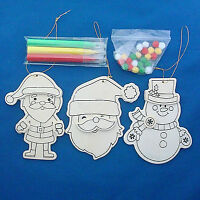 Creatology Set Of 3 Wooden Christmas Ornament Kit With Markers & Pom Poms Santa