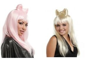 Lady-GAGA-Poker-Face-Pink-Blonde-Fancy-Dress-Costume-Wig-with-BOW
