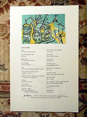 1965 ADAMS LOWELL HOUSE PRINTERS POEM / ART BROADSIDE Robert Dawson, Joan Goguen