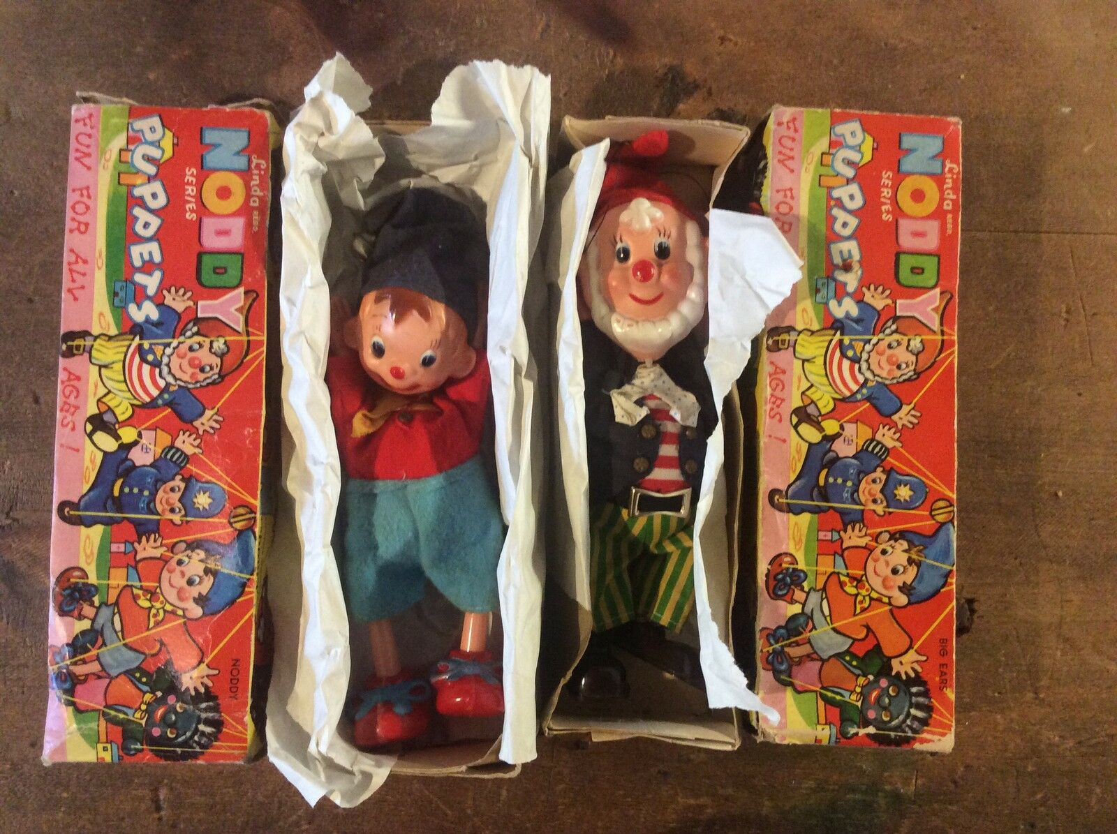 Linda fairylite Noddy & Big Ears Enid Blyton Puppets PAIR 1960s Boxed