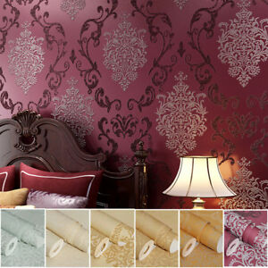 Details about 10M 3D ELEGANT LUXURY DAMASK EMBOSSED FLOCK TEXTURED  NON-WOVEN WALLPAPER ROLL
