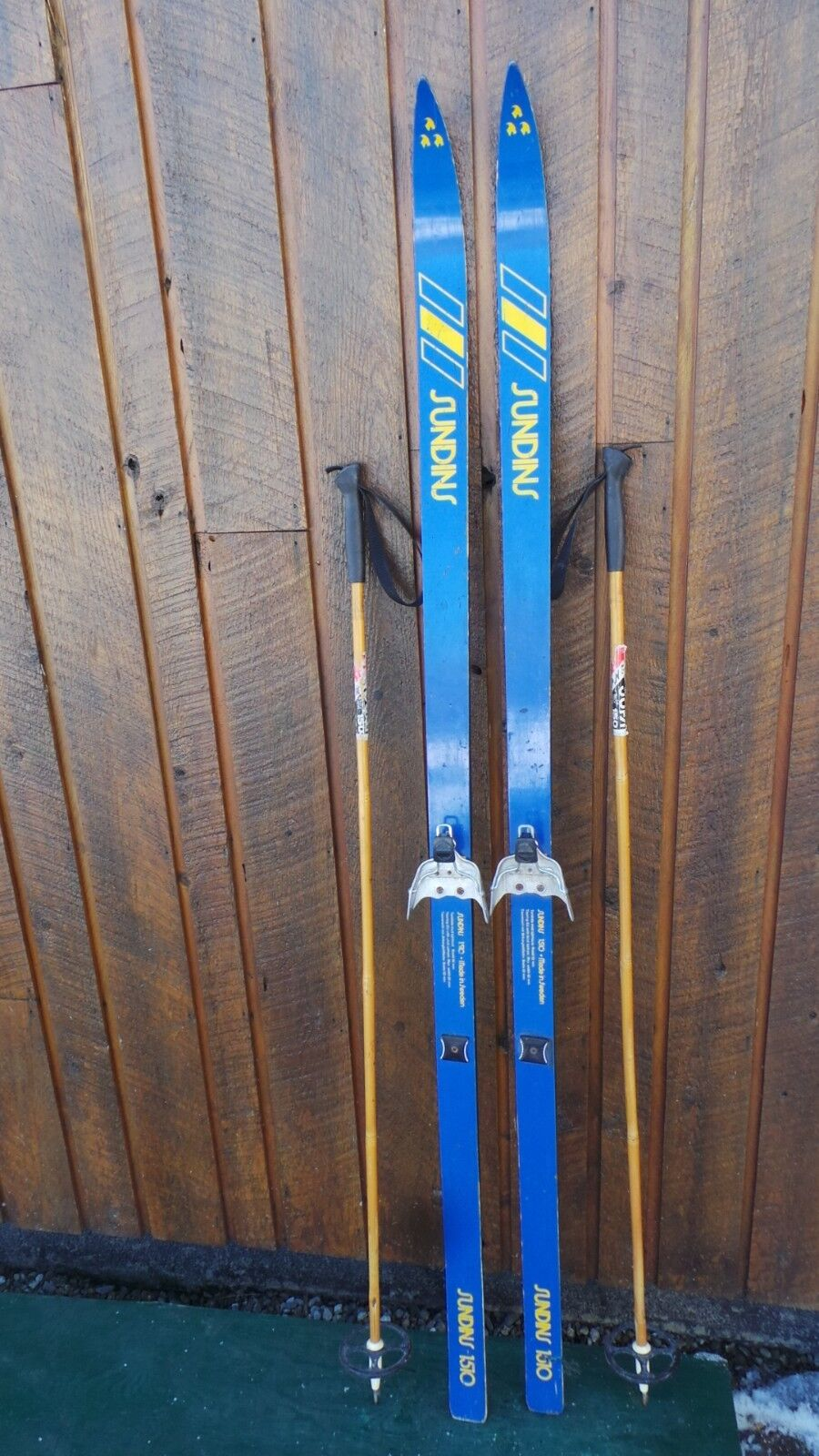 Vintage Wooden 70  Long Skis with  bluee Finish Signed SUNDINS + Poles  a lot of concessions