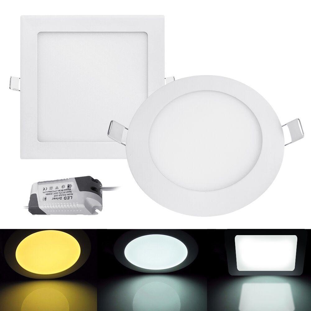 6W 9W 12W 15W 18W 21W LED Recessed Ceiling Thin Slim Panel Light  Fixture&Driver