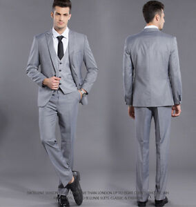 Image Is Loading Formal Mens Dress Suit Light Gray One On