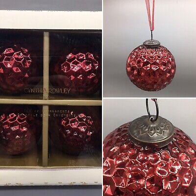 """6 Cynthia Rowley Silver Mercury Glass Ornament Set Rhinestone Glitter Hobnail 3/"""""""