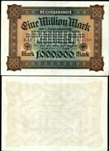 GERMANY 500 MILLION MARK P 110 AUNC ABOUT UNC