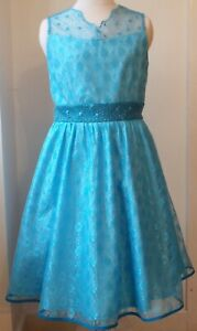Girls blue lace sleeveless knee length party prom casual dress ages 9-16 years