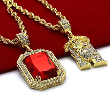 "Men 14k Gold Plated High Fashion 2 pcs set Ruby & Jesus 4mm 30"" & 24"" Rope chain"