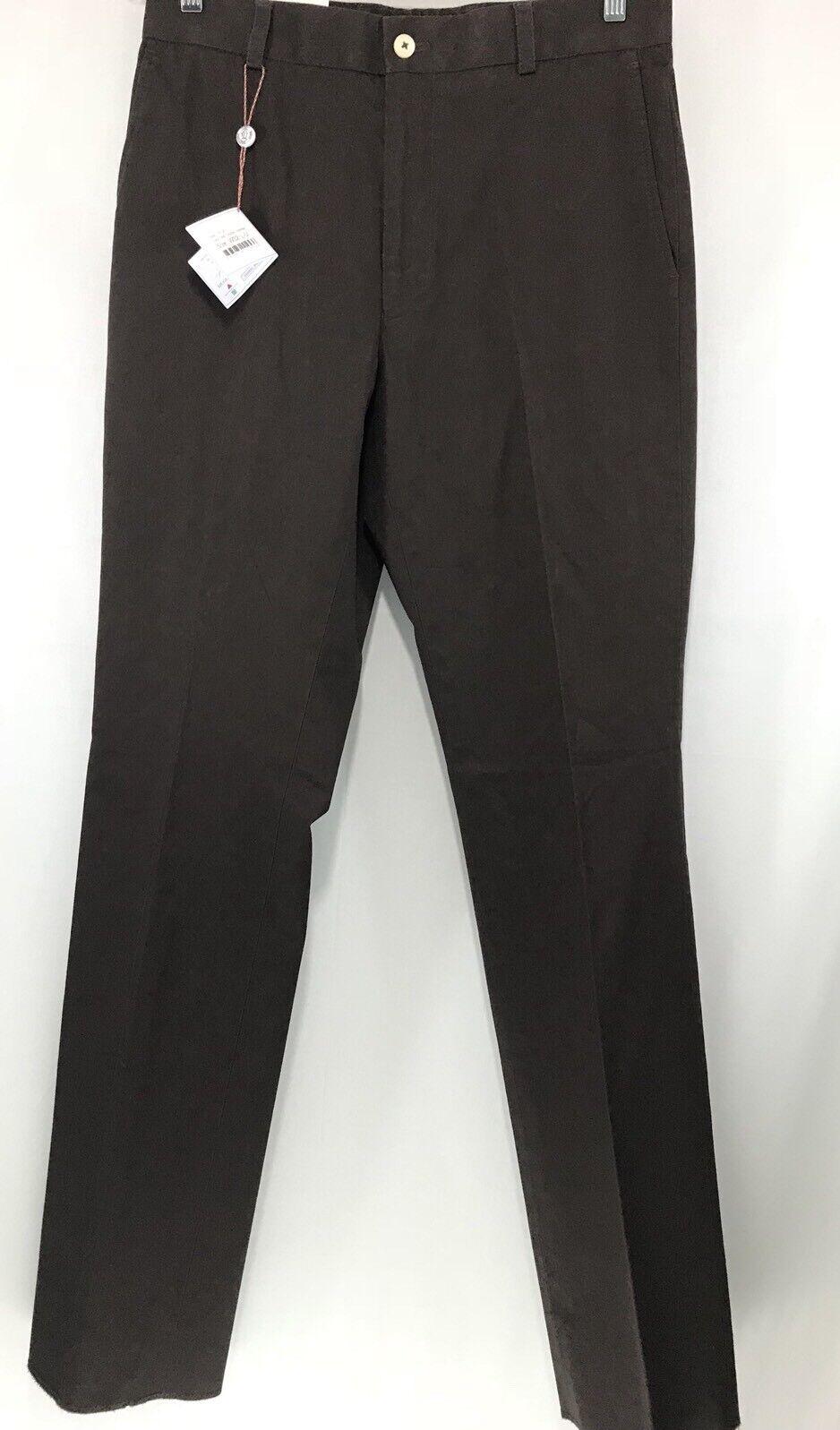 Men's 32x37 Southern Tide Double Expresso Cotton Elastane Flat Front Pants NWT