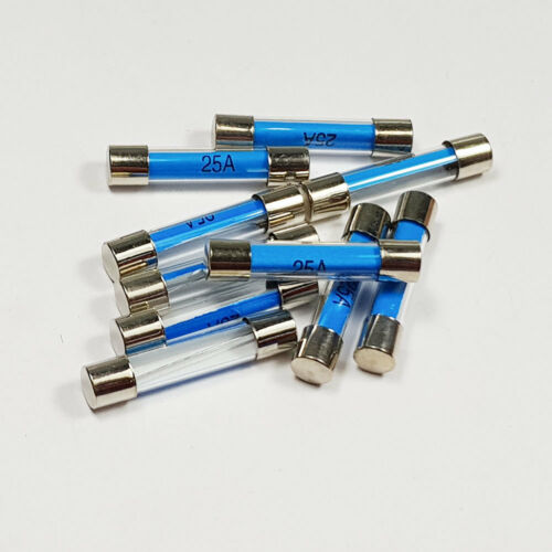 A 6 x 30mm 25 Amp 25A Amps 6x30mm Glass Fuse Quick Blow Fuses
