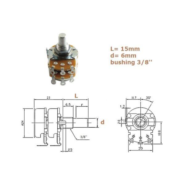 100% Kwaliteit Alpha 24mm 100kax2, Bussola 3/8'', Potenziometro Log Stereo