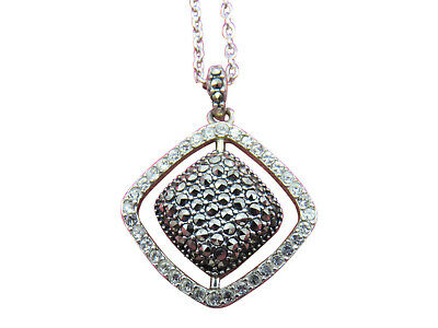 Judith Jack Sterling Silver Necklace Crystal Pendant Marcasite 16 in. Chain 814g