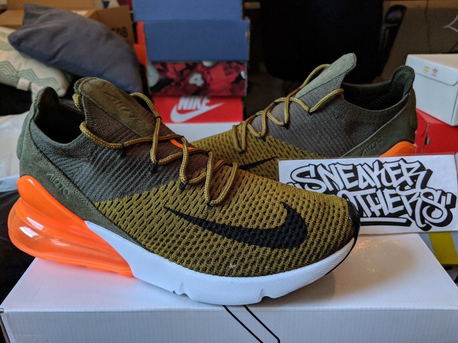 Nike Air Max 270 Flyknit Olive Green Suede White Orange Black AO1023-301