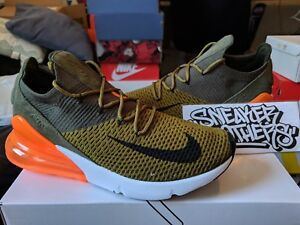 66855a6df5 Nike Air Max 270 Flyknit Olive Flak Green Suede White Orange Black ...