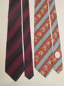 Lot-de-2-cravates-GUCCI-DIOR-100-soie-TBEG-vintage