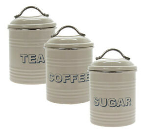 Details About Vintage Style Sage Tea Coffee Sugar Storage Containers Canisters Tins