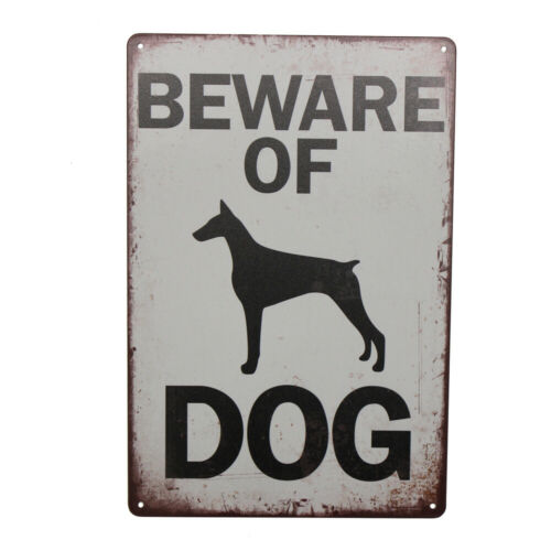 WARNING Tin Sign Beware of Dog Property Security Private 300*200mm Metal