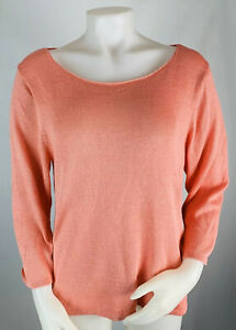 Eileen Fisher Womens XL Pink Cotton Knit Top Sweater Long Sleeve Crewneck