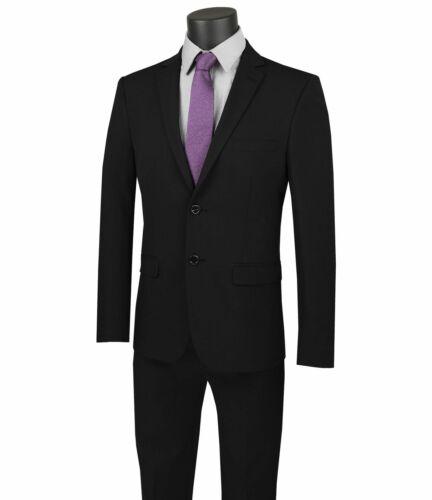 VINCI Men/'s Black Stretch Wool Feel 2 Button Extreme Slim Fit Suit NEW