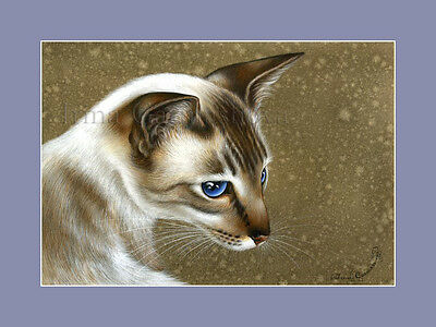 Oriental Cat Print Oriental Elegance from an original by I Garmashova