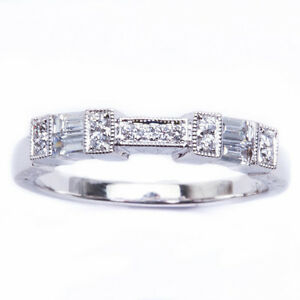 1ca6856d37a0b Details about .32CT E VS BAGUETTE AND ROUND DIAMOND WEDDING BAND ANTIQUE  STYLE SIZE 6.5