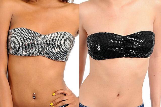 b2cff79f08 Sequin Embellished Bandeau Tube Top Foam Bra Lined Black or Silver ~XS S