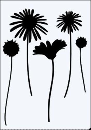 Daisy Flor tallos Reutilizable Resistente plantilla de Mylar de 190 micrones-A5-A4-A3