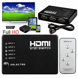 1080p-5-PORT-HDMI-Switch-Selector-Switcher-Splitter-Hub-iR-Remote-For-HDTV-PS3