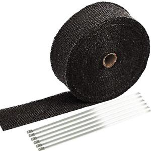 2 x 50ft Black Exhaust Heat Wrap Roll for Motorcycle Fiberglass Heat Shield Tape