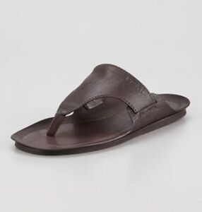 new prada mens buffalo brown leather thong flip flops. Black Bedroom Furniture Sets. Home Design Ideas
