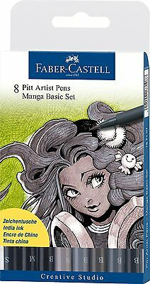 Faber-Castell Pitt Artist Pen Set Manga Shades of Gray 8 Pack ~ KNOCKOUT CRAFTS
