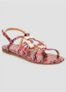 NEW-Ashley-Stewart-Hot-Pink-Python-Snake-Print-Gold-Flat-Sandals-Shoes-12W-Wide