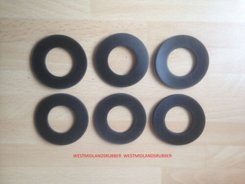 """6 Rubber Washers 2/""""  od x  1/""""  hole x 3mm Thick"""