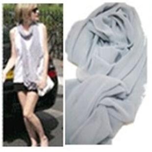 Lady Womens Imitation Silk Rayon Solid Color Long Scarf Shawl Wrap Stole Hijab