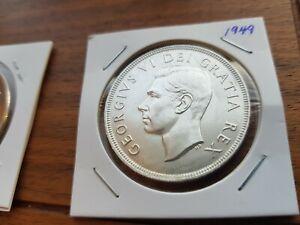 1949-Canada-Silver-One-dollar-Georges-VI