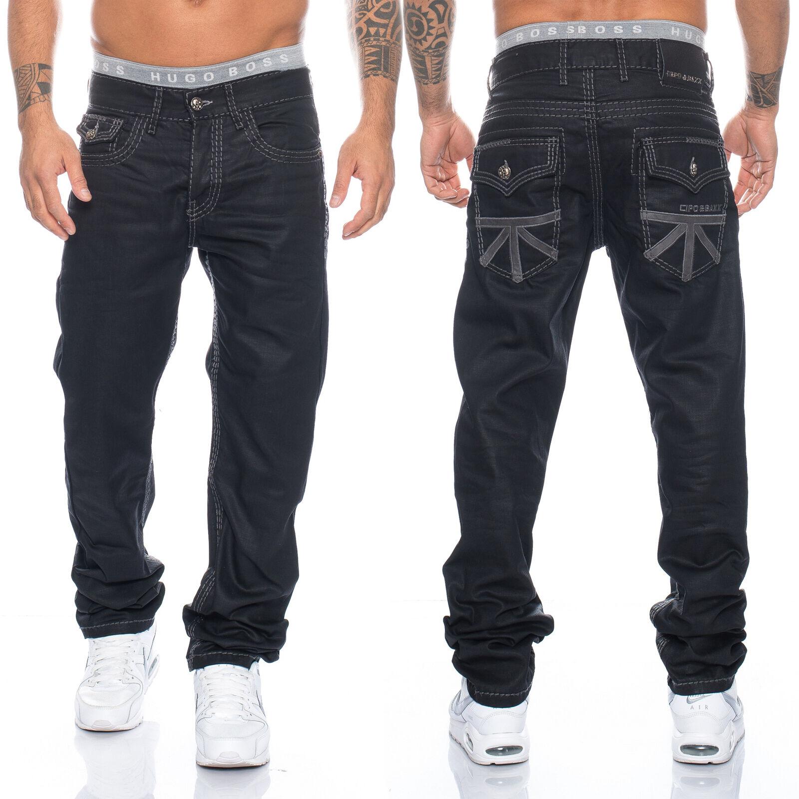Cipo & Baxx Uomo Cucitura Jeans Pantaloni 295 Nero Nuovo 28 29 30 31 32 33 34 36 38 40