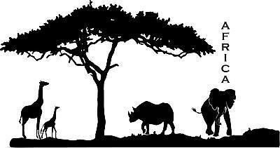 African Safari elephant,giraffes rhino vinyl wall decal